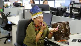 Indigenous women occupy the headquarters of the indigenous health department, during an indigenous women forum to demand respect for their rights
