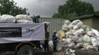 Piles of rubbish cleared from Everest