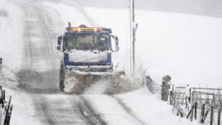 A snow plough at Spittal of Glenshee