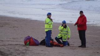 Paramedics, the police and Coastguard were called to the scene at Whiterocks beach
