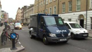Police van arriving at Westminster Magistrates' Court