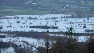 Flood waters over Cumbrian landscape