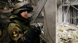 Motorola in ruins of Donetsk airport, 26 Feb 15