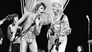 David Bowie and Mick Ronson on Top of the Pops in July 1972