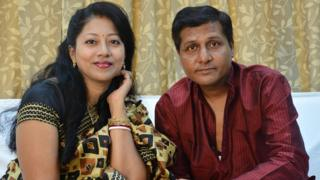 Sougat Mukharjee and his wife, Sagat.
