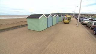Beach huts on the seafront at Weston-super-Mare