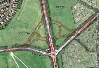 Aerial view of Blue House roundabout showing current roundabout and proposed changes