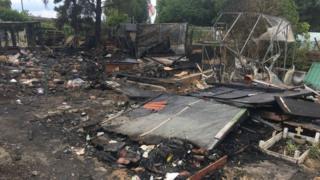 The scene of the arson