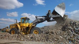 Rubbish dumped on landfill site
