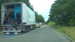 Lorry stopped in Ripley