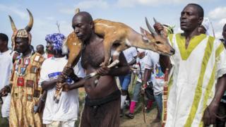 A man carries a captured deer