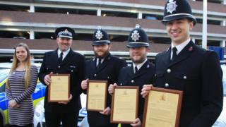 Investigating officer DC Natalie Backhouse with Supt Jonathan Baldwin, PC Andrew Bird, PC Stephen Gunshon and PC Matthew Cutts, who received commendations