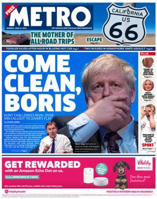 Newspaper headlines: Boris Johnson urged to 'come clean' on partner row