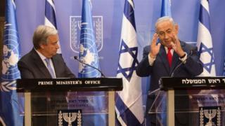 نتانیاهو در دفتر نخستوزیری اسرائیل با دبیرکل سازمان ملل کنفرانس مطبوعاتی مشترک برگزار کرد