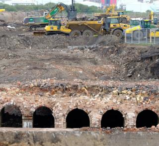 Structures believed to be associated with Middlesbrough's former ironworks uncovered at the TeesAMP site in Middlesbrough
