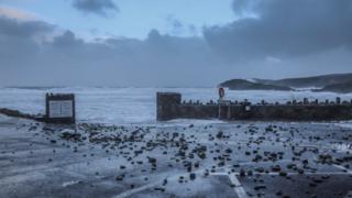 Pebbles washed up at Whitesands Bay, Pembrokeshire