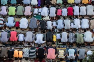 Egyptian Muslims perform the Eid Al-Adha morning prayer in capital Cairo on 11 August 2019.