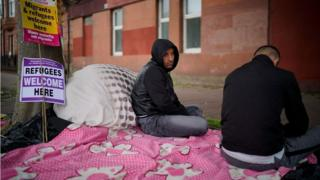 Two Afghan refugees facing eviction went on hunger strike outside the Home Office in Glasgow in August 2018