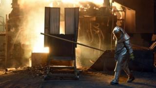 Fornalha de siderúrgica americana na Pensilvânia