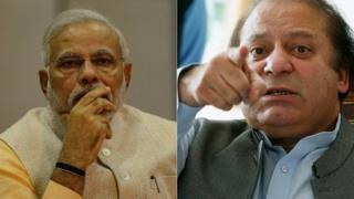 Narendra Modi (L), Nawaz Sharif (R)