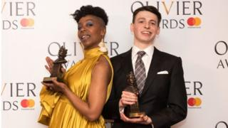 Anthony Boyle seen here with Noma Dumezweni who won the award for best actress in a supporting role