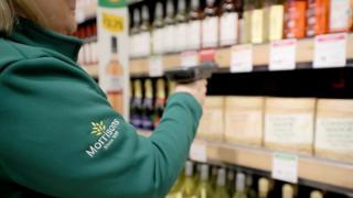 Morrisons jacket and wine bottles