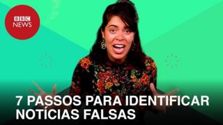Repórter em vídeo sobre notícias falsas