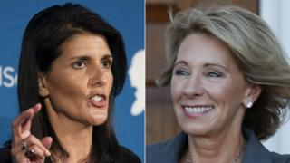 Nikki Haley, left, and Betsy DeVos