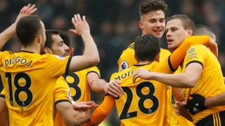 Wolves players celebrate second goal