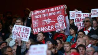 Wasu magoya bayan Arsenal na masu son ganin Wenger ya tafi