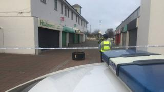 The scene at Edenmore Shopping Centre