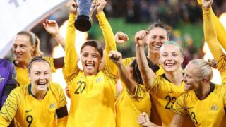 The Matildas lift a trophy