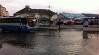 The scene at Enniskillen bus depot following more rainfall
