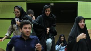 Women are seen inside the Iranian parliament during an attack in central Tehran (7 June 2017)