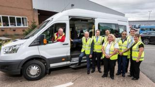 Cllr Ian Ward, WMCA portfolio lead for transport, is pictured second from the left, meeting National Express West Midlands managing director David Bradford (third from the left) and members of the National Express Accessible Transport team