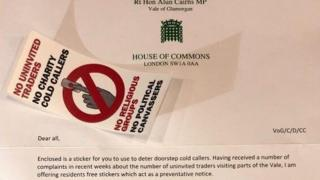 Welsh Secretary Alun Cairns' no political cold-callers sticker criticised