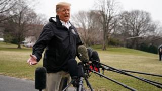 Trump speaks to reporters