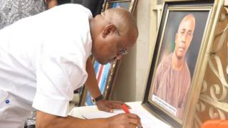 Rivers State Governor dey sign condelence register of late Dr. Ferry Gberegbe