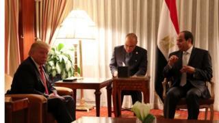 الرئيس المصري عبدالفتاح السيسي والرئيس الأمريكي المنتخب دونالد ترامب