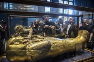 Former Man U star Ryan Giggs visits a museum in Cairo on Wednesday while in town for the UEFA Champions League trophy tour.