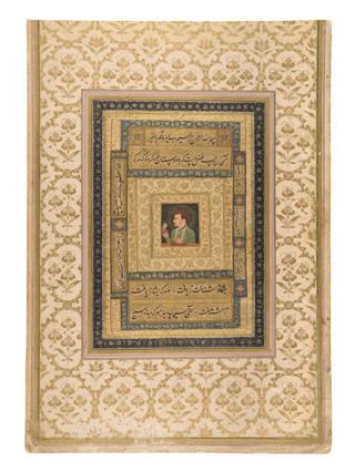 A portrait of Mughal emperor Jahangir holding a small image of the Virgin Mary made with watercolour and gold on paper.