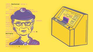Illustration of Grace Hopper and a computer