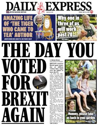 Daily Express front page - 24/05/19