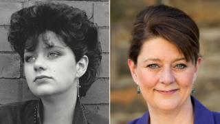Leanne Wood as a teenager and as an adult