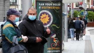 People wearing masks in Dublin