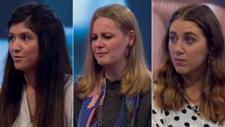 (왼쪽부터) 로나 홀, 리브 모레, 지나 마틴이 BBC 방송에 출연해 치마 들치기 피해 경험을 털어놓았다