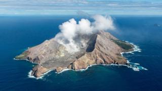 An Aerial view of White Island located in Bay of Plenty on March 26, 2016 near Whakatane, New Zealand.