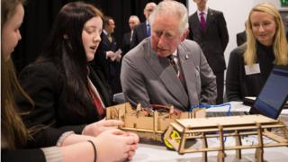 Prince Charles with children at Ysgol Cwm Brombil