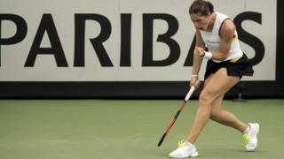German tennis player Andrea Petkovic at her Fed Cup match in Hawaii against Alison Riske of the US, 1 February 2017