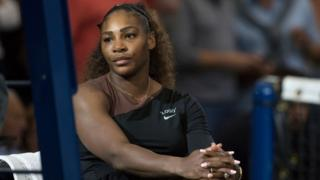 Serena Williams sits after her loss to Naomi Osaka at the US Open final in 2018
